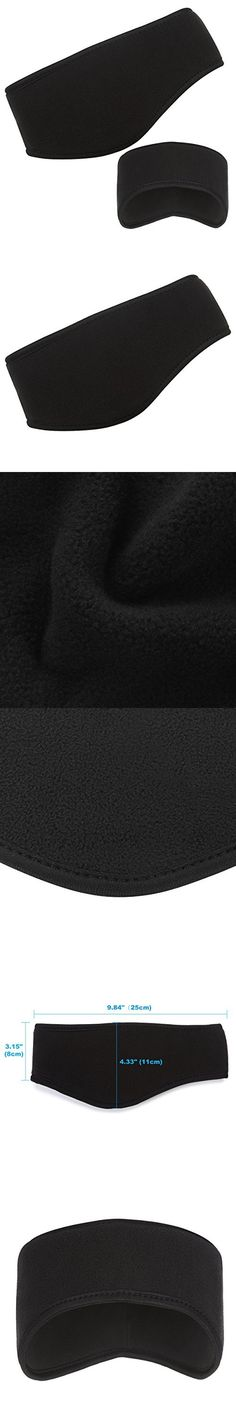 Liomor Sports Headband Running Headwear Sweatband Ear Warmer Head Wrap Double-Layer Fleece Headband Wicking, Unisex Style - Black
