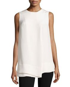 Derek Lam Faux-Wrap Silk Sleeveless Blouse, White New offer @@@ Price :$1150 Price Sale $799