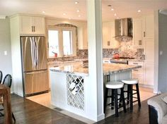 Kitchen Island With Columns open floor plan kitchen, knock down walls, l-shaped island, column
