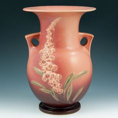 #KnowPottery | Roseville Foxglove was introduced in 1942, has 53 shape variations and three color variations (green, pink and blue).  Blue is the most popular and highly valued. The 'crispness' of the model also has an effect on value of this line and many #Roseville #Pottery pieces from this era.