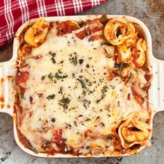 Cheesy Baked Tortellini Casserole - super easy and hugely tasty weeknight dinner.