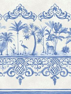 Cole & Son Wallpaper - Rousseau Border - Cobalt Blue 99_10042_CS