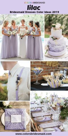 Lilac bridesmaid dresses wedding color ideas for 2019 lilac dress with white bridal gown and wedding flowers bouquets centerpieces invitations and wedding cakes in lilac and white color. Lilac Wedding Themes, Lavender Wedding Theme, Gold Wedding Gowns, Wedding Flower Guide, Gold Wedding Theme, Lilac Wedding Flowers, Lavender Wedding Invitations, Lavender Weddings, Lace Wedding