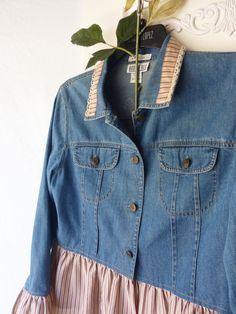Reserved for girlie girl Denim jean Jacket upcycled by ButterCatCo