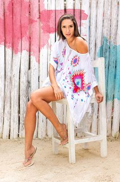 Tribal Style Raices Kaftan with Fringe Detail