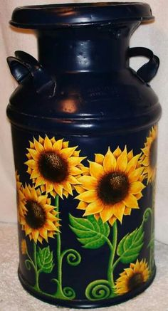 Painted milk can by Ashley Necole Kiser - Milk Cans - Donut decor Milk Can Decor, Painted Milk Cans, Old Milk Cans, Milk Jugs, Sunflower Art, Sunflower Paintings, Sunflower Crafts, Sunflower Kitchen Decor, Sunflower Images