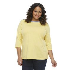 Basic Editions Women's Plus Boat Neck Top