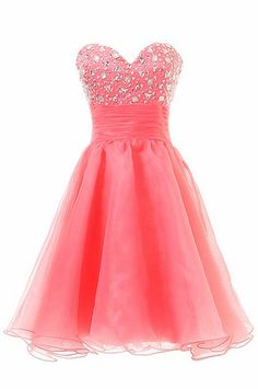 Charming Short Homecoming Dresses Sweetheart Water Melon Tulle Crystal Beaded Grade Graduation Party Dress Custom Made Neon Prom Dresses, 2016 Homecoming Dresses, Junior Party Dresses, Beaded Prom Dress, Quinceanera Dresses, Girls Dresses, Sparkly Dresses, Short Dresses, Prom 2014