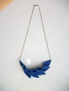 Petal Collection: Electric Blue Leather Petals Necklace by HaKNiK