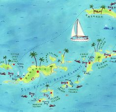 British Virgin Islands map by Mariko Jesse.  We visited all the islands on a charter boat from The Moorings.