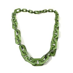 "Rara Avis by Iris Apfel ""Chained"" Resin Link Graduated 38"" Necklace, want in blue"