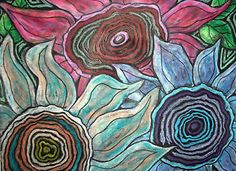 Rug Hooking Paper Pattern Three Blooms Abstract Primitive Folk Art Karla G   eBay