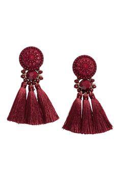 Earrings with tassels - Burgundy - Ladies   H&M 1