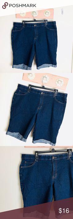 3352221a577 Faded glory jeans denim Bermuda shorts size 22W Faded glory plus size 22W  dark blue denim