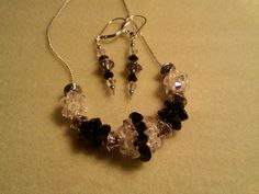 Black and White swarovski crystal bead necklace and earrings