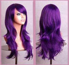Long wavy purple wig with bangs. Ready to ship. by Wigglywigs