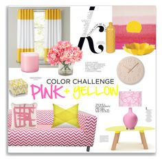 """""""Color Challenge: Pink + Yellow"""" by jafashions ❤ liked on Polyvore featuring interior, interiors, interior design, home, home decor, interior decorating, Universo Positivo, KAROLINA, Dot & Bo and Surya"""