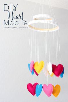 DIY Heart Mobile at Sweet Rose Studio