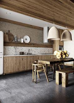 Wabi Sabi, Küchen Design, House Design, Interior Design, Brown Kitchens, Home Kitchens, Black Bathroom Furniture, Kitchen Interior, Kitchen Decor