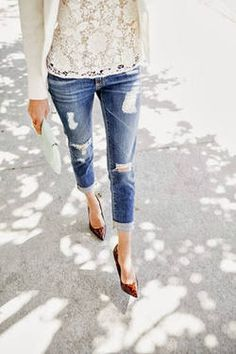 lace, ripped jeans and heels.
