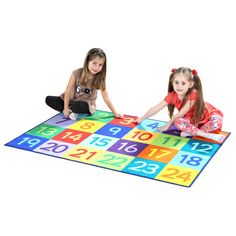 Rainbow 1-24 Numbers Carpet: A carpet numbered 1-24 sectioned into squares, each square a different colour with a different number. Great for use in group number games, as well as for improving children's number identification and sequencing. : W/D 150 x 100cm