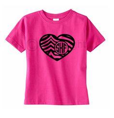 Valentines Day Heart Monogram Toddler T-Shirt by VinylDezignz