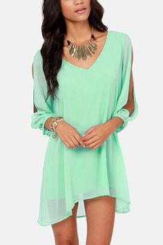 Light Green Slit Long Sleeve Chiffon Dress #Light #Dress #maykool