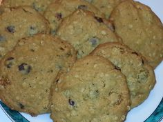 OATMEAL, RAISIN CHOCOLATE CHIP COOKIES  1 CUP MARGARINE 1 CUP BROWN SUGAR 1 EGG 1 TSP. VANILLA 1 ½ CUPS FLOUR 1 TSP. BAKING SODA ¼ TSP. SALT 1 ¼ CUPS OATS 1 CUP CHOCOLATE CHIP COOKIES 1 CUP RAISINS CREAM SUGAR AND MARGARINE, ADD EGG AND VANILLA. MIX DRY INGREDIENTS TOGETHER AND ADD TO MARGARINE MIXTURE, ADD CHOCOLATE CHIPS AND RAISINS BAKE @ 350' 8-10 MINUTES Chocolate Chips, Chocolate Chip Cookies, Cream And Sugar, 1 Egg, Raisin, Brown Sugar, Baking Soda, Oatmeal, Vanilla