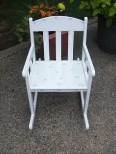 Childrens Rocking Chair - Hand Painted - (can Be Customized With Child Name)