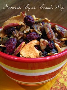 A festive snack mix of sweet & spicy pecans, pumpkin seeds, crisp apple chips, tart cranberries & decadent chocolate chips. Perfect for movie or game night! #vegan #glutenfree too! From the @kikiverde blog.