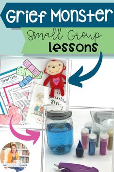 This is a Small-Group Curriculum Set for School Counselors to help students while they grieve. Bad Days Week Mending My Heart Week Monste Grief Activities, Counseling Activities, Art Therapy Activities, Activities For Kids, Leadership Activities, Play Therapy, Grief Counseling, School Counseling, School Social Work