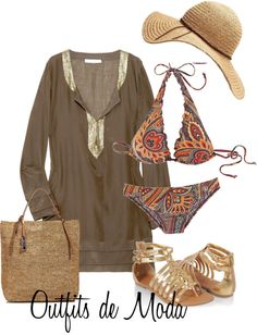 A fashion look from August 2012 featuring sequin top, swimsuits two piece and platform sandals. Browse and shop related looks. Vacation Outfits, Summer Outfits, Chic Outfits, Pretty Outfits, Summer Swimwear, Bikini Fashion, Boho, Beachwear, What To Wear