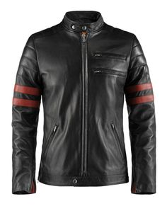 Hybrid - Drawing inspiration from our Mayhem and Café Racer leather jackets, we have created this highly sought after 70's retro biker style leather jacket. With double chest pockets, complimentary red stripe accents, and double snap motorcycle collar. This jacket is perfect for riding around town or just hanging out. As seen on one of our favorite actors, Sam Witwer from the US SyFy series Being Human.