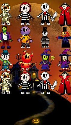 iPhone 5 wallpaper Halloween costume characters cute