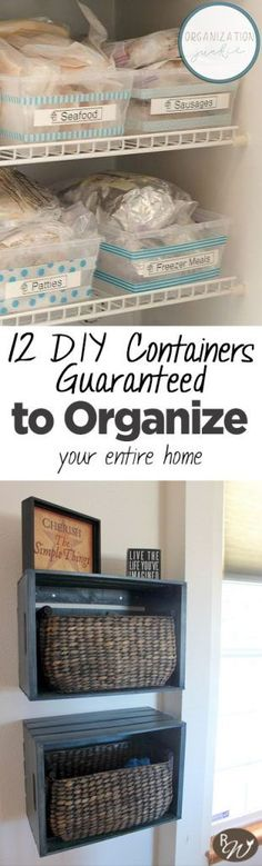 12 DIY Containers Guaranteed to Organize Your Entire Home Organizing Your Home, Home Organization Hacks, Pantry Organization, Declutter Your Home, Bathroom Organization, Organizing Ideas, Organising, Organisation, Decorating Ideas