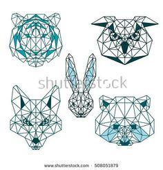 POLYGONAL ANIMAL HEAD TIGER RABBIT FOX OWL RACCOON POLYGON LINE LOGO ICON SET