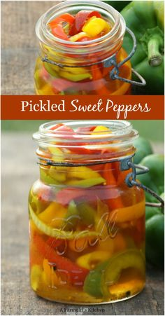 Homemade Pickled Sweet Peppers are simple to make and so flavorful. Sweet Pickled Peppers are easy to make. The best Pickled Peppers recipe. Pickled Pepper Recipe, Pickled Sweet Peppers, Stuffed Sweet Peppers, Recipes With Sweet Peppers, Pickled Veggies Recipe, Pickled Banana Peppers, Home Canning Recipes, Cooking Recipes, Canning Tips