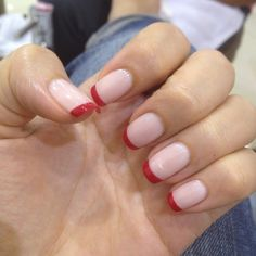 Best Nails French Manicure Red Tips 36 Ideas Red French Manicure, French Nail Art, French Tip Nails, Red Tip Nails, Pink Nails, Hair And Nails, French Tip Nail Designs, Moon Nails, Nails Only
