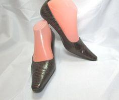 Enzo Angiolini Brown Leather Croc Kitten Heel Pumps Size US 7.5 M #EnzoAngiolini #PumpsClassics #Everyday