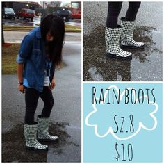 We've got these super cute houndstooth rain boots in! So come check them out! #platoscloset #platosclosetmob #cashforclothes #houndstooth #rainboots #rainydays #cute