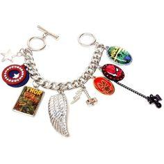 Marvel Comics Superhero Charm Bracelet ($25) ❤ liked on Polyvore featuring jewelry, bracelets, marvel comics, charm bracelet and marvel comics jewelry