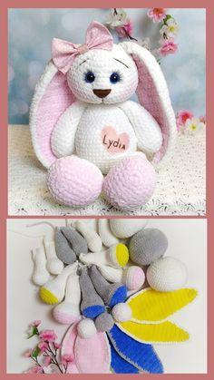 Crochet bunny pattern, easter bunny pattern, personalized bunny crochet for baby. Handmade Ideas, Handmade Toys, Etsy Handmade, Handmade Crafts, Crochet Mouse, Crochet Baby, Crochet Patterns Amigurumi, Knitting Patterns, Easter Bunny Crochet Pattern