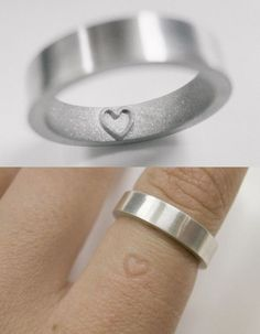 Heart ring for wedding gift, wedding engagement ring imprint band