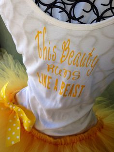 Disney Princess Belle Custom Racing Tank and Pixie Length (9inch) Tutu - Don't think I'd do the tutu but I love the tank for a race or for everyday.