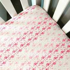 Flamingo fitted crib sheet  pink and white by GoodnightDoll
