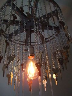 Art Deco Inspired Industrial Reclaimed Recycled Metal Keys Chandelier