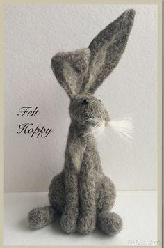 Grey hare ( Bunny Rabbit ) needle felting kit Gift