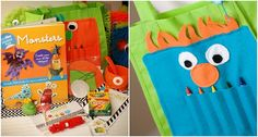 Monster party-favor tote and favors