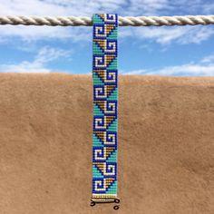 Aztec Gold Bead Loom Bracelet Bohemian Boho by PuebloAndCo on Etsy Loom Bracelet Patterns, Bead Loom Bracelets, Bead Loom Patterns, Woven Bracelets, Elephant Cross Stitch, Native Beading Patterns, Aztec Gold, Friendship Bracelets Designs, Bead Jewellery