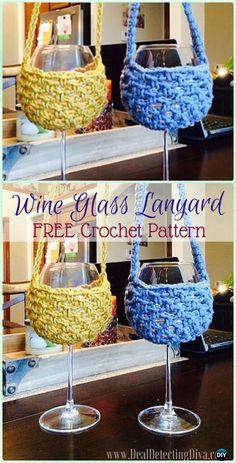 Crochet Spiral Lanyard Wine Glass Holder Free Pattern - Crochet Wine Glass Lanyard Holder & Cozy Free Patterns